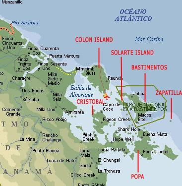 The beautiful Caribbean coast of Panama displaying Bocas del Toro.