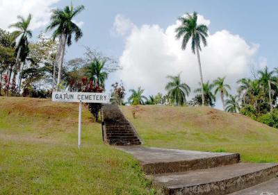 This is the stairway to the entrance of Gatun Cemetery.