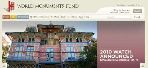 This is a screen shot of the World Monuments Fund's landing page.  Please visit it and browse through their 2010 Watch List.