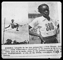 Lilia Wilson's recording breaking High Jump 1938 (L), and a closer look at the young girl champion (R).