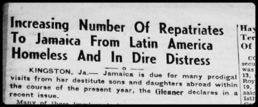 Repatriates headline from The Panama Tribune January 1950.  Things were looking very dim for the Jamaican repatriates from Panama according to the article.