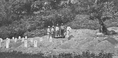 West Indian diggers digging up graves probably at Culebra.