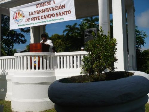 Opening the ceremony at Corozal Cemetery Gazebo was Carmela Gobern.